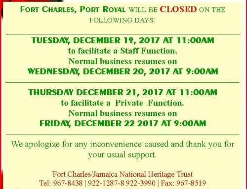Fort Charles Early Closure Notice